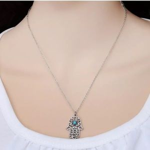 Jewelry - Boho Hamsa hand gold toned necklace